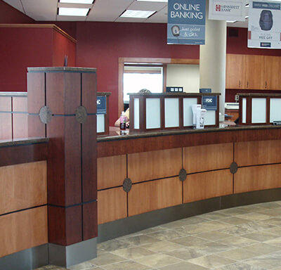 Curved bank teller stations